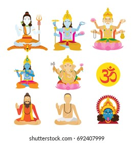 God of Hinduism and Priest Set, Deities, Lord, Character Set with Om Symbol