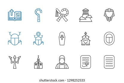god icons set. Collection of god with egypt, priest, church, poseidon, egyptian, olympus, bible. Editable and scalable god icons.