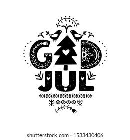 "God Jul. Merry Christmas Calligraphy Template in Swedish - God Jul. Lettering poster ""God Jul"" in ethnic folk style. Greeting Card Black Typography on White Background"