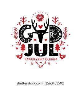God Jul. Merry Christmas Calligraphy Template in Swedish - God Jul. Lettering poster God Jul in ethnic folk style. Greeting Card Black Typography on White Background