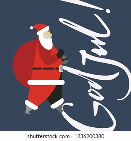 God Jul, which is swedish or norwegian and means Merry christmas and Happy new year 2019 with santa claus. Card.