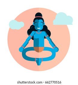 God Krishna character sitting in lotus position. Vector flat cartoon illustration