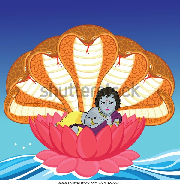 God Krishna Lotus Flower Stock Vector Royalty Free 670496587