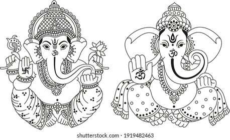 God lord Ganesha. Vector Illustration Chants,Written in Sanskrit language, Which Means 'Devotee Bows Offers Salutations To The Lord of The World.