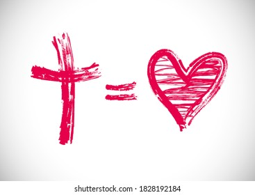 God Is Love creative card. Cross equals heart shape logo. Religious christian 3D logotype concept. Stroke symbol in brush and chalk monochrome grunge style. Isolated abstract graphic design template.