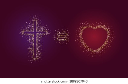 God Is Love greeting card. Cross equals heart shape creative logo. Religious christian banner concept. Golden symbol in shiny glittering style. Isolated abstract graphic design template. Gold dust.