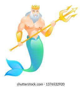 God Neptune. God of the sea. Neptune with a trident.