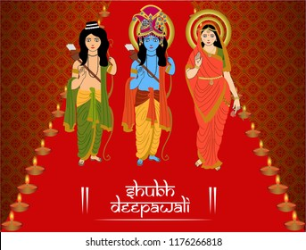 God Rama, Laxman and Goddess Sita giving blessings, Beautiful festival background pattern decoration for Happy deepawali celebration in the event of rajayaabhishek.