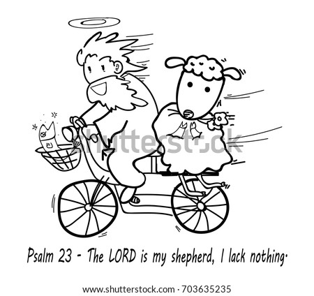 God Riding Bicycle Sheep Sitting Behind Stock Vector Royalty Free