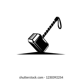 god of thunder hammer mjolnir vector logo design inspiration or illustration template