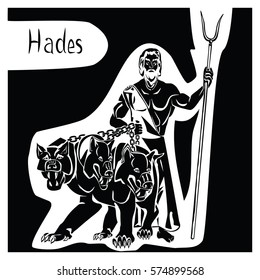 God of underworld greek Hades or roman Pluto with Cerberus and scepter in hands black vector illustration isolated on a white or transparent background