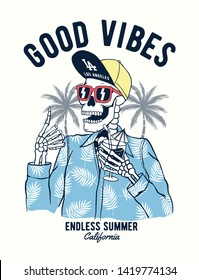 God vibes text with a skeleton holding a cocktail with sun glasses and hat on palm trees background . Vector illustrations for t-shirt prints, posters and other uses.