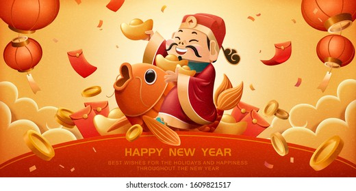 God of wealth rides on lucky carp and holds red packet for Chinese new year