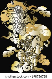 God of Wind and Thunder Japanese pattern