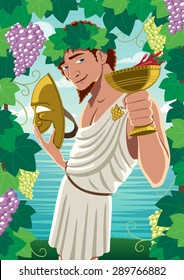 The god of wine Dionysus / Bacchus proposing toast. No transparency used. Basic (linear) gradients.