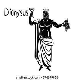 God of wine greek Dionysus or roman Bacchus with a glass of wine and bunch of grapes in his hand black vector illustration isolated on a white or transparent background. Loincloth