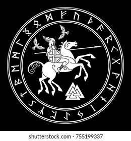 God Wotan, riding on a horse Sleipnir with a spear and two ravens in a circle of Norse runes. Illustration of Norse mythology, isolated on black, vector illustration
