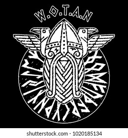 God Wotan and two ravens in a circle of Norse runes. Illustration of Norse mythology, isolated on black, vector illustration