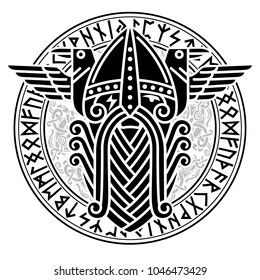 God Wotan and two ravens in a circle of Norse runes. Illustration of Norse mythology, isolated on white, vector illustration