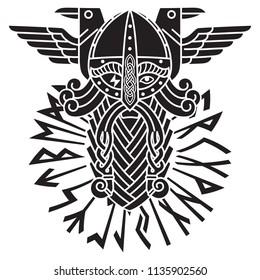 God Wotan, two ravens and norse runes. Illustration of Norse mythology, isolated on white, vector illustration