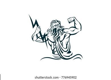 The god Zeus holding the lightning