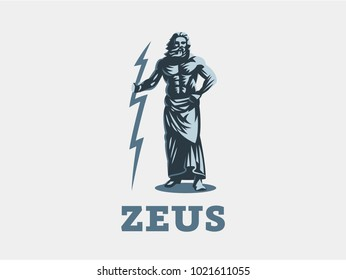 God Zeus is holding lightning. Vector emblem.