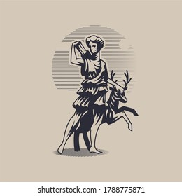 Goddess Artemis or Diana. A woman in a tunic stands next to a deer and pulls out an arrow from a quiver.