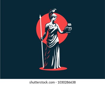 The goddess Athena holds an owl and a spear in her hand.