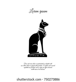 Goddess Bast icon. Egyptian cat icon