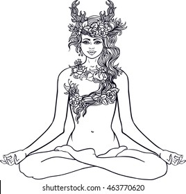 Goddess with deer horns sitting in Yoga lotus meditation pose.Forest nymph with wreath of flowers and herbs.Tattoo, coloring. Hand drawn floral zentangle pattern.Boho chic Hipster Hippie design.Vector