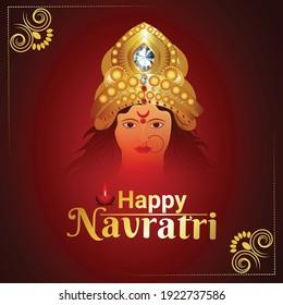 Goddess durga face and subh navratri festival
