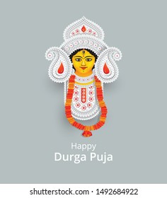 Goddess Durga Face Vector Illustration - Indian Religious