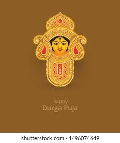 Goddess Durga Face Vector Illustration - Indian Religious Goddess Durga Face Vector Illustration