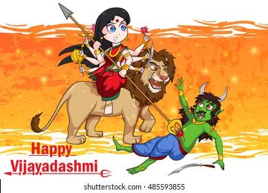 Goddess Durga killing demon Mahishasura for Happy Vijayadashami Dussehra in vector