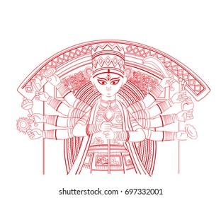 Goddess Durga line art illustration vector