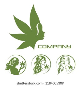 Goddess of the earth and cannabis logo