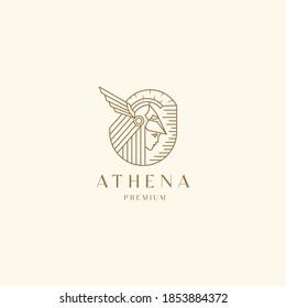 Goddess greek athena line art logo icon design template. Elegant, luxury, premium vector
