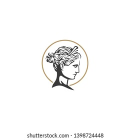 goddess head vector logo illustration