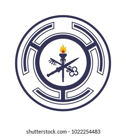 Goddess Hecate also known as triple goddess Crone or Trivia vector symbol. Hecate Wheel sign or seal.