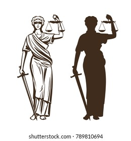Goddess of justice. Themis with blindfold, scales and sword in hands. Vector illustration