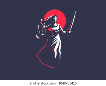 The goddess of justice Themis. Vector emblem.