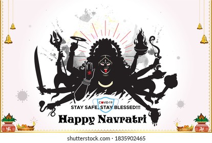 Goddess Kali, Goddess Durga on navratri festival, Goddess Maa Kali Pooja background of India festival and wising typography