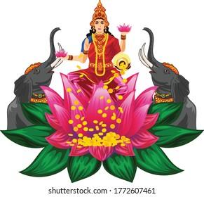 Goddess Lakshmi Vector art and illustration