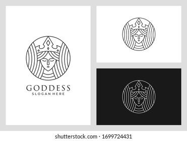 goddess, queen, beauty, crown, nature logo design in line art style premium vector