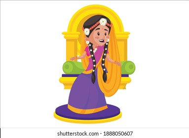 Goddess Radha is sitting on a throne. Vector graphic illustration. Individually on a white background.