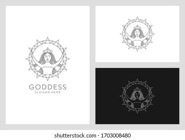 goddess with sun logo design premium vector