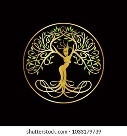 goddess tree logo template
