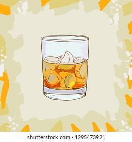 Godfather cocktail illustration. Alcoholic bar drink hand drawn vector. Pop art