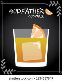 Godfather cocktail illustration vector with orange wedge garnish.