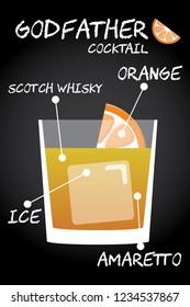 Godfather cocktail recipe illustration vector with orange wedge garnish.